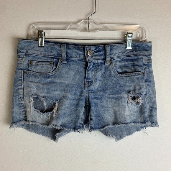 American Eagle Distressed Light Wash Jean Shorts